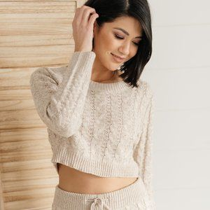 Cozy Casual Cropped Cable Knit Sweater Top Regular and Plus